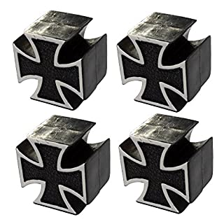 Aerzetix: 4 x Tire Valve Tips, Auto, Bike, Motorcycle Tyre Caps, Maltese Cross Shaped , Universal, C19899