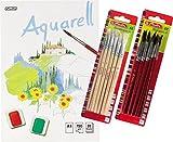 Herlitz 495457 Aquarellpapier, Aquarellkarton, A4, 150 g/qm, 20 Blatt / Kombi-Set (6 Blöcke + 12 Haarpinsel + 15 Borstenpinsel)