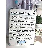 Camping Regeln Bus Bulli Holzschild im Shabby Vintage Style
