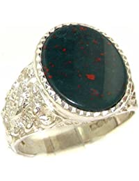 Gents Solid 925 Sterling Silver Natural Bloodstone Mens Mans Signet Ring, Made in England