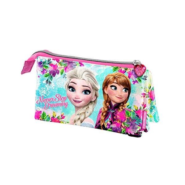 Disney Frozen Estuche portatodo Triple, Color Turquesa, 22 cm (Karactermanía 33503)