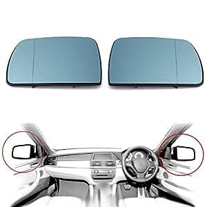 AUDEW 1 Paire Porte Miroir Verre de Rétroviseur Extérieur Chauffante Anti Aveugles Gauche Droite Bleu Pour BMW X5 E53 99-06