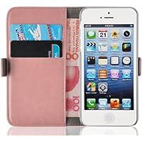 iPhone SE, iPhone 5 & 5s Lederhülle | JAMMYLIZARD Handyhülle [ Luxuriöse Tasche Series ] Ledertasche Flip Case Cover Hülle mit Kartenfach Leder Schutzhülle, Pfirsichrosa