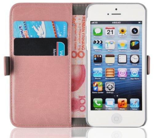 JAMMYLIZARD iPhone SE, iPhone 5 & 5s Lederhülle Handyhülle [ Luxuriöse Tasche Series ] Ledertasche Flip Case Cover Hülle mit Kartenfach Leder Schutzhülle, Pfirsichrosa