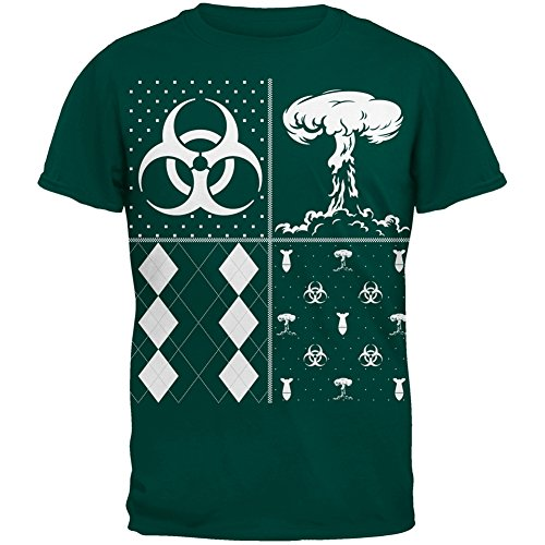 Biohazard festliche Blöcke hässliche Weihnachts Pullover dunkel grün Erwachsenen T-Shirt Green