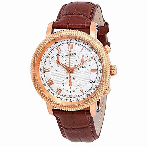 Charmex Men's President II 42mm Brown Leather Band Quartz Analog Watch 2985
