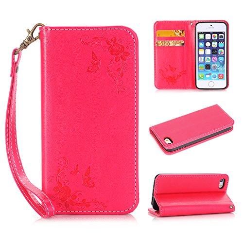iPhone 5 5S 5G / iPhone SE Boîtier en cuir, Ecoway Papillon Rose Embossage PU Cuir en Housse de protection Coques avec porte-cartes Porte-monnaie Porte-monnaie Ceinture détachable pour iPhone 5 5S 5G / iPhone SE - Gros rouge