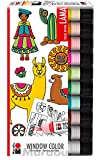Marabu 0406000000126 - Window Color Fun and Fancy, 10 x 25 ml, Inklusive 16 Vorlagen mit Lama Motiven