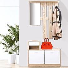 Merveilleux IDMarket   Vestiaire Du0027entrée Avec Miroir Design Hêtre Portes Blanches