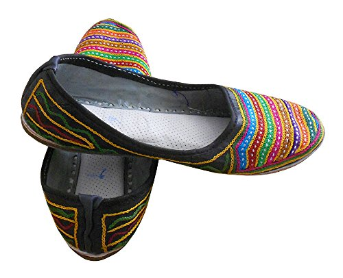 kalra Creations Femme en Cuir traditionnel indien Ballet Flats Multicolore