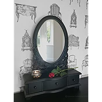 Chic Black Dressing Table Mirror with Drawers