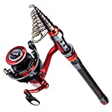 Sougayilang Fishing Rod Combos with Telescopic Fishing Pole Spinning Reels for Travel Saltwater