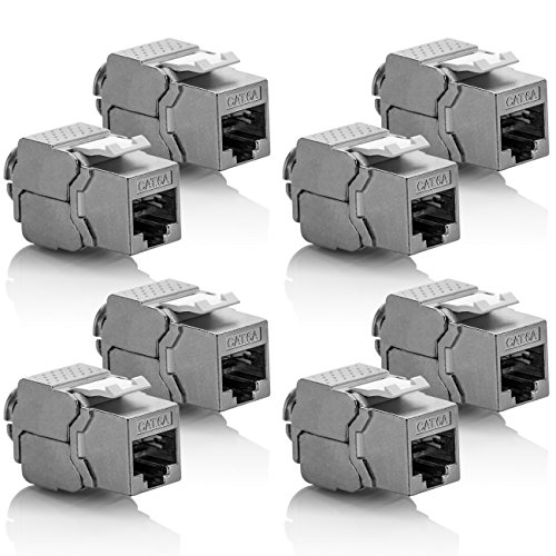 Cat6a-buchse (deleyCON 8X Keystone Modul CAT 6a Jack - Vollgeschirmt STP RJ45 Buchse Werkzeugfrei Dank Snap-In Montage CAT Rohkabel 500Mhz 10GBit/s)