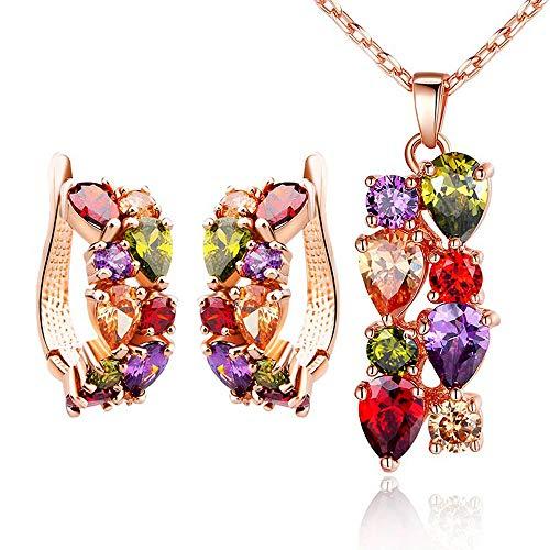 LLYY Schmuckset, Halskette Set Ohrringe Kristall Frauen Anhänger/Ohrringe, für Party Hochzeit Bankett Jewellery Set(bunt)