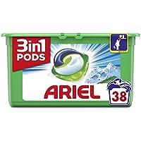 Ariel 3en1 Pods Detergente Cápsulas, Alpine, Limpieza Increíble, Limpia, Quita Manchas, Ilumina- 38Lavados