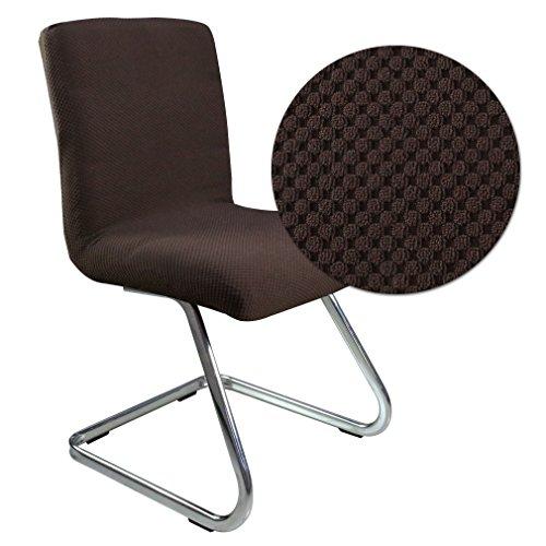 6er Auralum® 2 Jahre Garantie Elegant Samt Bi-Elastic Stretchhusse Stuhlhusse Stuhlüberzug (Kaffee)