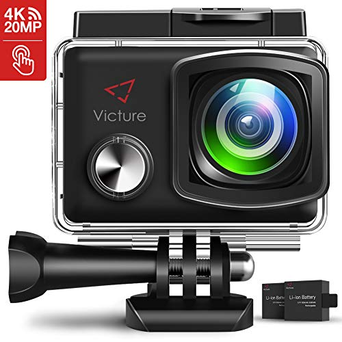 Victure Action Cam 4K 20MP WiFi Touch Screen Ultra Full HD 30 Meters Unterwasserkamera Einstellbare 170°Fischaugen-Linse EIS Sports Kamera 2×1350mAh Ersatzbatterien and Halterungs-Kit ... - Aus Cam