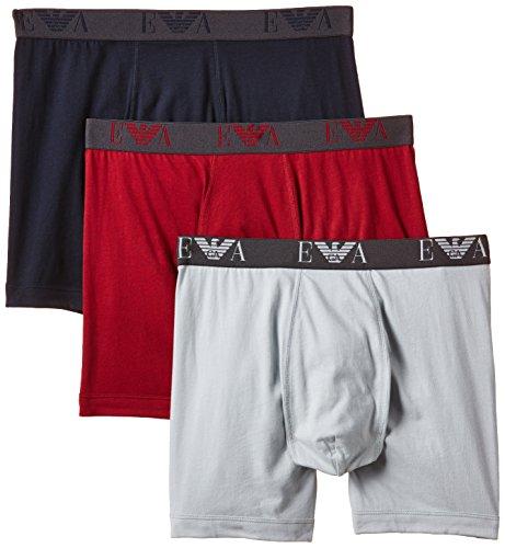 Emporio Armani Underwear Herren 1108695A712 Retroshorts, Mehrfarbig (Rubino/GHIACC/Marine 18074), X-Large (Herstellergröße: XL) (3erPack