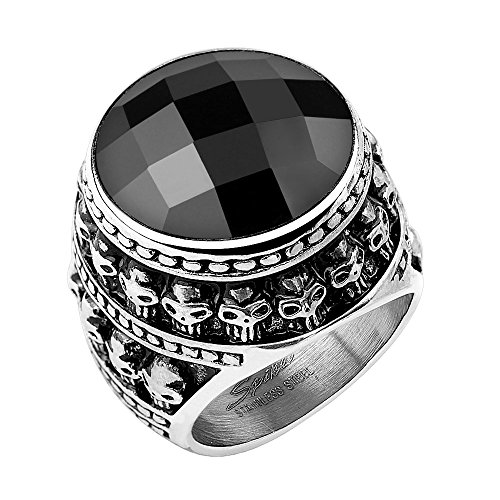 Mianova Herren Ring Edelstahl Massiv Breit Herrenring Männer Biker Rocker Schädel Totenkopf schwarzer Kristall Stein Schwarz Silber Größe 61 (19.4)