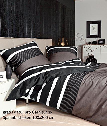 Janine Satin-Bettwäsche J.D. Nougat-schwarz 135 x 200 cm + 80 x 80 cm