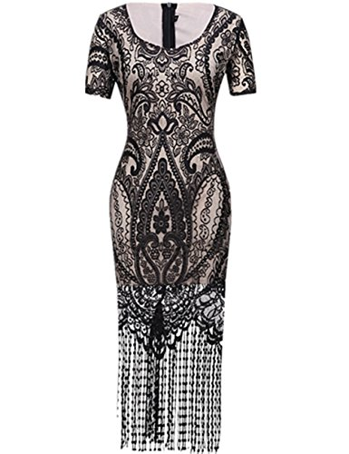 SELUXU Women's 1920s Vintage Flapper Fringe Beaded Great Gatsby Party Dress Black Large