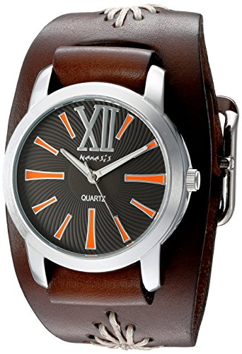 Nemesis Women's 'Roman Series' Quartz Stainless Steel and Leather Automatic Watch, Color:Brown (Model: BBF065KN)