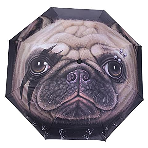 WILLIAM&KATE Travel Windproof Funny Personality Creative Animal Dog Head Three Fold Sunny Umbrella Outdoor Use