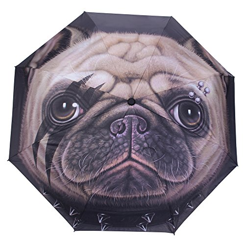 WILLIAM&KATE Reisen Winddichte Lustige Persönlichkeit Kreative Tier Hund Kopf Drei Fold Sunny Umbrella Outdoor Gebrauch