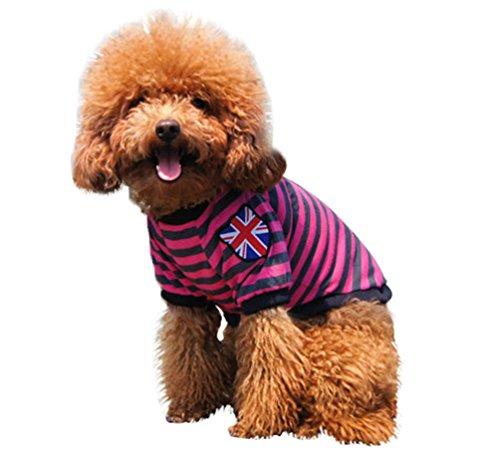 YiJee Haustier Kleine Weste Hund Katze T-Shirts Gestreifte Sommer Welpen Bekleidung Rose L