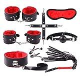 Bondage Set Sexspielzeug Body Harness Erwachsene Slave Dessous Handfessel Damen Spreizstange Handgelenk/Hände zu Fußfesseln Felicove (8 Pcs, rot)