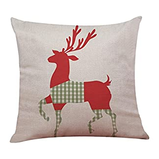 Fundas De Cojines, Xinantime Decoración para el hogar Funda de Almohada de Lino de algodón de Navidad Funda de cojín de sofá 45 x 45 cm