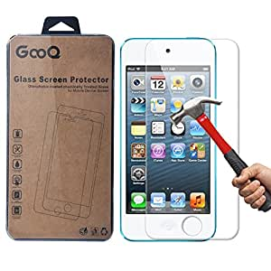 iPod Touch 6 Screen Protector, GOOQ(TM) iPod Touch 5 Tempered Glass 2.5D Round Edge/99% Clarity/0.3mm/9H Hardness/Shatter-Proof/Bubble Free, Glass Screen Protector for iPod Touch 5