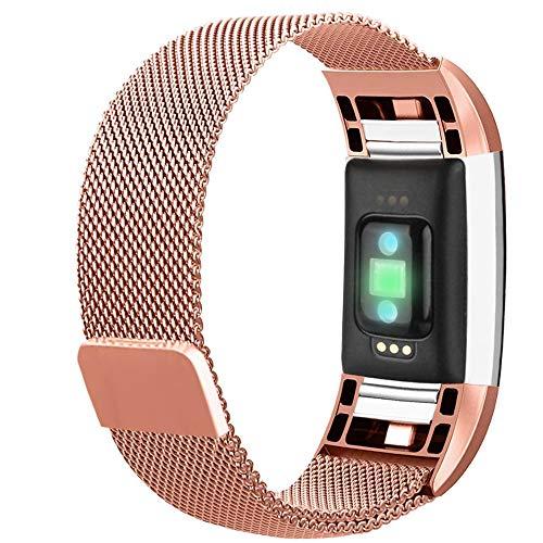 Correa de Repuesto Compatible con Fitbit Charge 2, Acero Inoxidable y Metal, Ajustable, con Fuerte Cierre magnético, Pulseras para Charge 2, Plata, Oro Rosa, Rosa y Rosa, Color Rose Pink