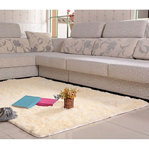 Generic Fluffy Rug Anti-Skid Shaggy Area Rug Home Bedroom Carpet Floor Mat 16 Colors - beige