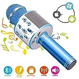 Phiraggit Microphone Karaoke sans Fil Bluetooth Karaoké,Micro sans Fil Mini Karaoké Portable avec Haut-Parleur pour Les Adultes d'enfants Partie Ktv à La Maison pour Android/Iphone/Ipad/Pc (Bleu)