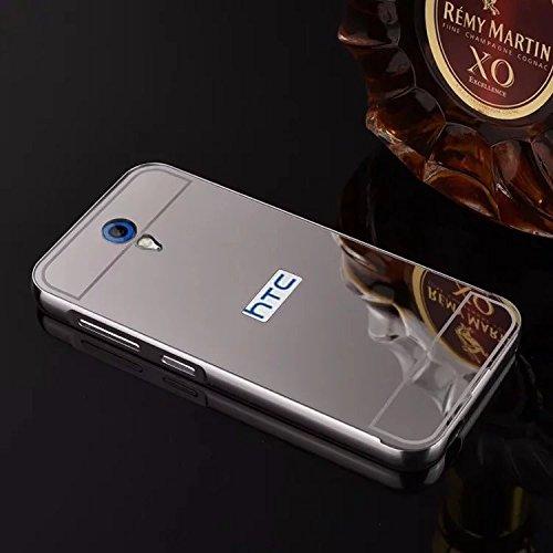 nKarta (TM) Branded Luxury Metal Bumper Acrylic PC Mirror Back Mobile Cove Case For HTC Desire 620 - Silver