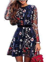 SEWORLD Vestido de Fiesta Bordado Floral de la Moda de Las Mujeres de Malla de Encaje