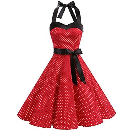 OIKAY Neckholder Rockabilly 50er Vintage Retro Kleid Petticoat Faltenrock Neckholder Petticoat