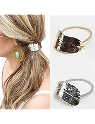 Bodhi20002pcs Womens Filles Feuille Bandeau Cheveux Corde élastique Queue de cheval support