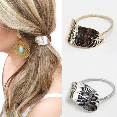 Bodhi2000 2 x fasce elastiche per capelli per donna/ragazza corda elastica per coda elastico con decorazione foglia