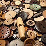 600 gemischte Holzknöpfe und Kokosknöpfe (ca. 250 Gramm) - Durchmesser ca. 10 bis 35 mm rund - Näh- und Bastelknöpfe in vielen Formen zum Scrapbooking, Nähen, Basteln und Dekorieren