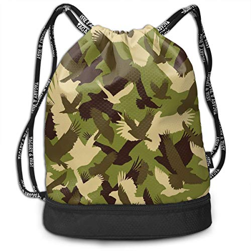 LULABE Printed Drawstring Backpacks Bags,Eagle Silhouettes Flying Open Wings Falcon Hawk Armed Forces Theme,Adjustable String Closure