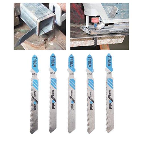 jiamins 5pcs hojas de sierra caladora hoja de sierra alternativa para corte rápido bois-métal, T118A