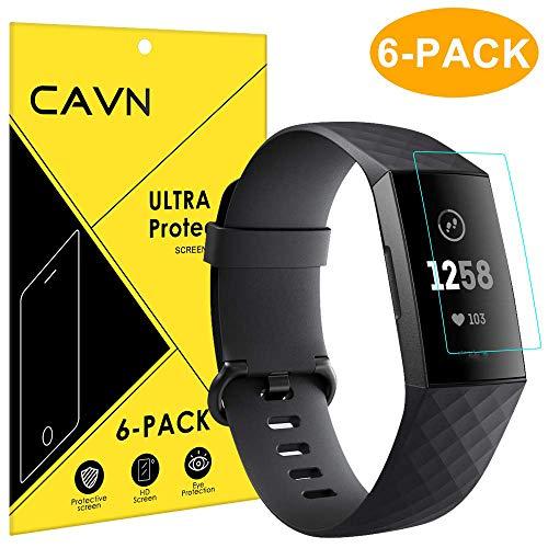 Cavn fitbit charge 3 / charge 3 special edition pellicola protettiva [6 pack], ultra clear copertura completa flessibile schermo protezione pellicola per fitbit charge 3 & se, anti-bolla, anti-graffi