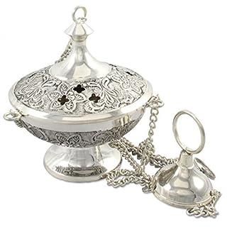Anzmann Incense Burner Antique Look *Brass Silver-Plated Necklace / 25 CM