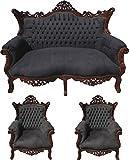 Casa Padrino Barock Wohnzimmer Set Schwarz/Braun - 2er Sofa + 2 Sessel - Limited Edition!