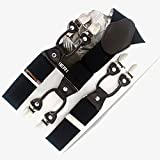 LLZGPZBD Hosenträger/Herren Hosenträger Lässig Modische Klammer Hochwertige Leder Hosenträger Verstellbare 6 Clip Gürtel, Schwarz