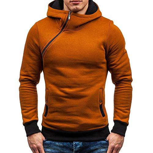 Wraluhen Herren Kapuzenpullover Hoodie Pullover Mit Kapuze Slim Fit mit schrägem Zipper Sweatshirt Langarm Herbst Winter Casual Top Bluse