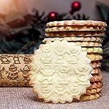AmyGline Nudelholz mit Prägung Weihnachten Schneemann Muster Präge Rolle Holz Küchenwerkzeug Backzubehör 38cm