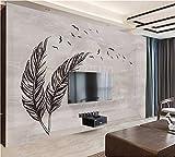 Weaeo Benutzerdefinierte 3D Wandbild Moderne Einfache Handgemalte Schwarz-Graue Feder Fliegen Vogel Marmor Wohnzimmer Hotel Tapete-350X250Cm
